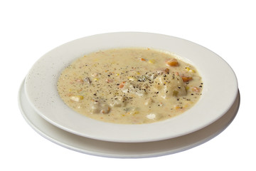Seafood Corn Chowder Isolated White Background