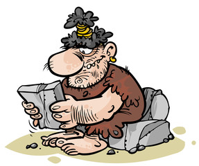 Cartoon Caveman reading stone newspaper.
