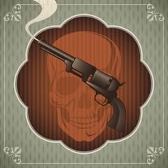 Vintage poster with gun.