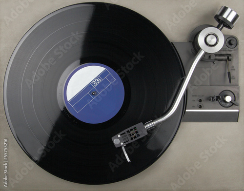 Closeup of vintage turntable with phonorecord