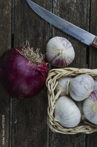 chopping garlic and onion