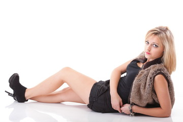 portrait beautiful Young sexy woman wearing fur