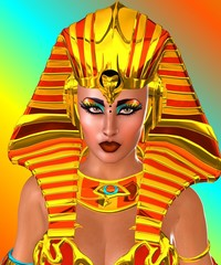 Close up face of Pharaoh Queen