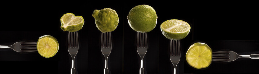 various citrus presented on forks
