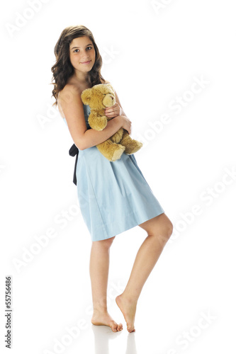 Pretty Teen with Her Teddy Bear