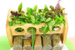 fresh and dry herbs closeup
