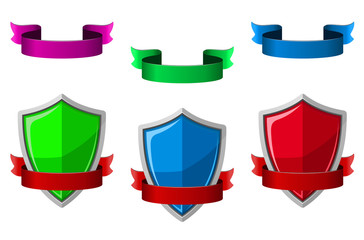 Security icons with shields and ribbons