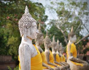 Buddha statues at Wat Yai Chai Mongkol in Ayutthaya, Thailand