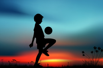 Silhouette, children playing football on meadow, sunset,