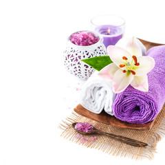 Set for spa treatments. Towel, sea salt, candle