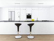 Modern white kitchen interior with two bar stools