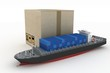 cargoship with box. Global business commerce concep