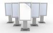 3D render row of empty advertising billboards