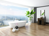 Fototapety Modern white bathroom interior with huge windows and scenic view