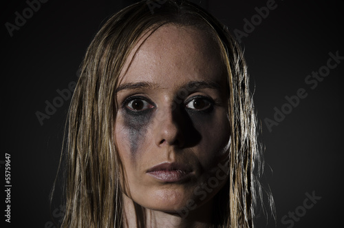 portrait of an abused woman horizontal