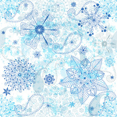 Christmas white-blue seamless pattern