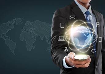 businessman navigating in virtual reality interface