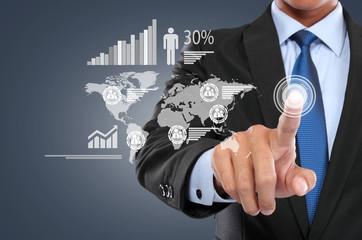 Businessman working with digital virtual screen