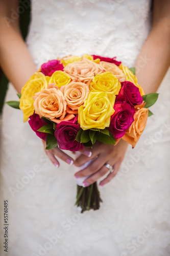 Bride Holding Multi Colored Bouquet