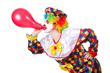 Clown with balloons isolated on white