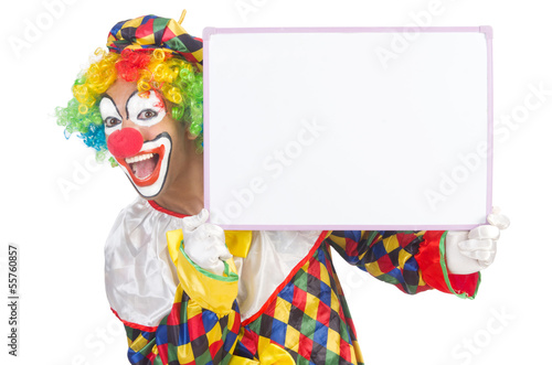 Clown with blank board on white