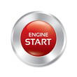 Start Engine button. Vector red round sticker.
