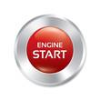 Start Engine button. Vector red round sticker.