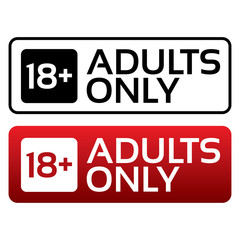 Adults only content button. Age limit stamp.