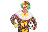 Clown with football ball on white