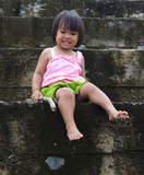 Portrait of funny little Asian girl