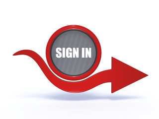 sign in arrow icon on white background