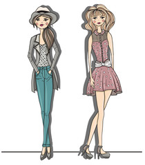 Young fashion girls illustration. Vector illustration. Backgroun
