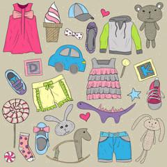 Children clothes and toys design  elements set