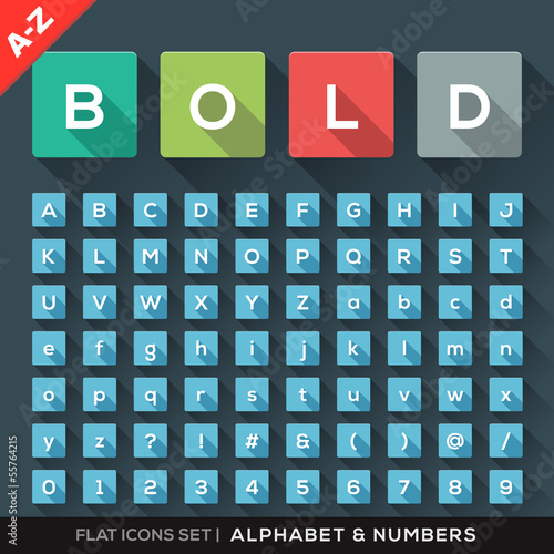 Alphabet and Number Flat Icons Set