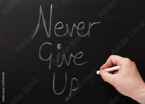 Writing Never Give Up on a Blackboard