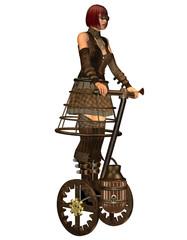 Steampunk Mädchen auf einen dampfangetriebenen Transportmittel