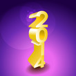 2014 New year golden 3d sign - illustration
