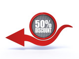 discount arrow icon on white background