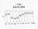 Hand drawn equalizer with sliders - illustration