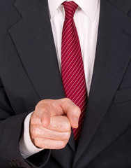Business man in suit pointing finger - angry boss, bully