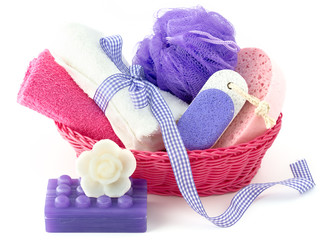 Spa and bath accessories with sponge,soap and towel isolated on
