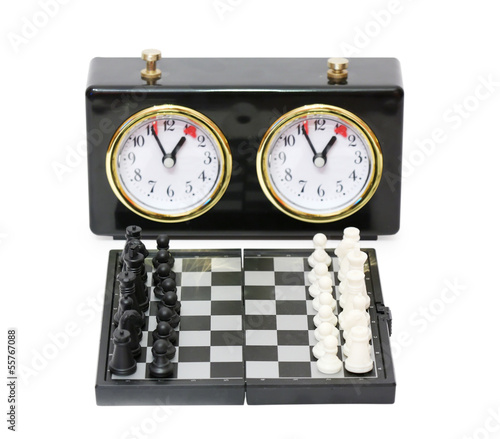 Chess timer and chess board with figures isolated on white