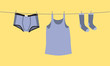 Men's underwear on a clothesline, fix by pegs - illustration - 55767281