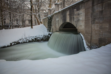 Winter Waterfall in Munich