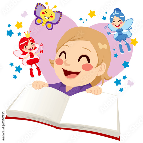 Cute Girl Reading Fairy Tale