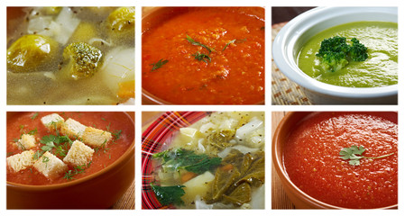 Food set of different  vegetable soups.