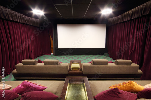 Back of soft couches with pillows and white screen in small hall