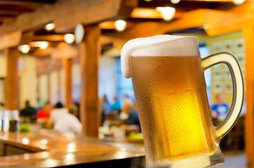 glass of beer in beerhouse