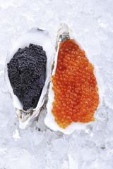 Kaviar auf Eis, erhöhte Ansicht