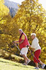 Älteres Paar, Nordic Walking, lächelnd, Seitenansicht